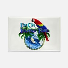 Island Time Parrot Rectangle Magnet