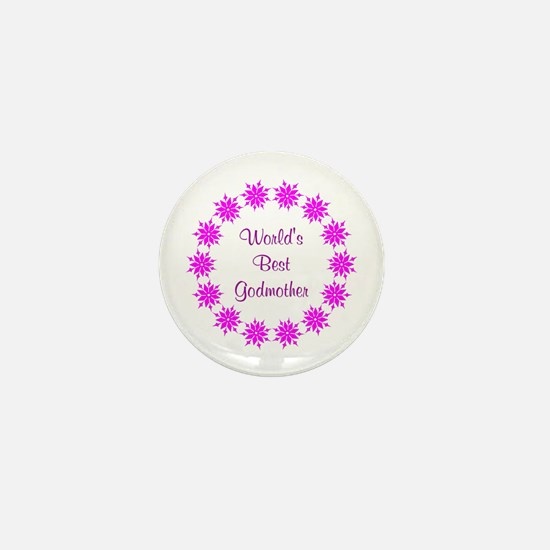 World's Best Godmother (pink wreath) Mini Button