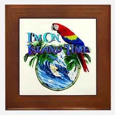 Island Time Parrot Framed Tile