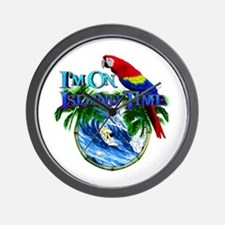 Island Time Parrot Wall Clock