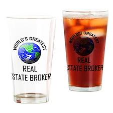 REAL-ESTATE-BROKER90 Drinking Glass