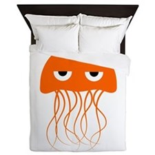 Orange Jellyfish Queen Duvet