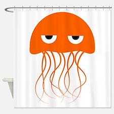 Orange Jellyfish Shower Curtain
