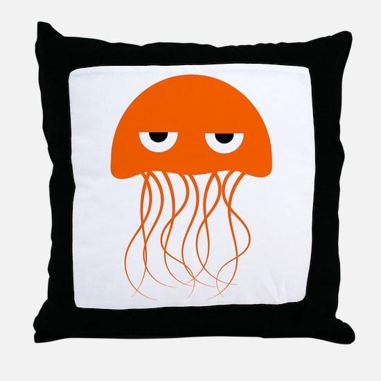 Orange Jellyfish Throw Pillow