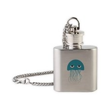 Light Blue Jellyfish Flask Necklace