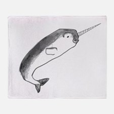 Narwhal Sketch Throw Blanket