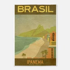 Brazil, Ipanema,Beach,Travel, Vintage Poster 5'x7'