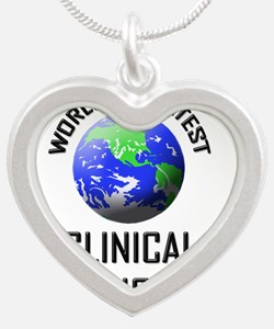 CLINICAL-MICROBIOLOG96 Silver Heart Necklace