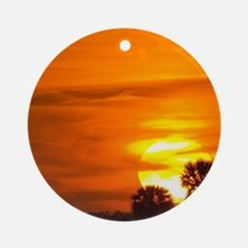 Sunset on Fire Round Ornament