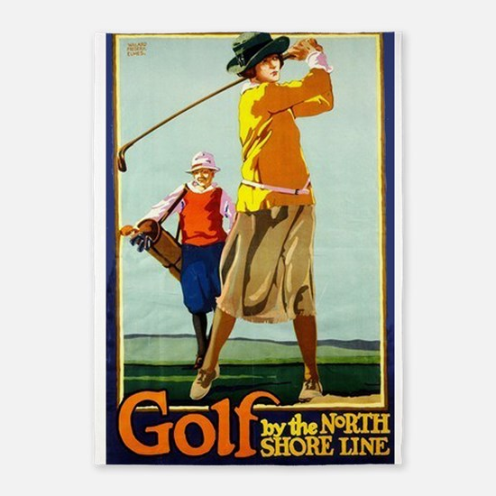 Golf, Lady, North Shore Line, Vintage Poster 5'x7'