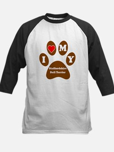 I Heart My Staffordshire Bull Terrier Baseball Jer