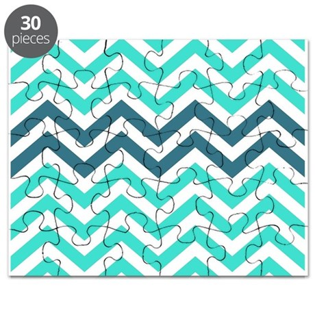 Turquoise and Teal Blue Chevrons Puzzle