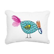 Turquoise Crazy Bird wit Rectangular Canvas Pillow