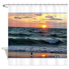 Sunset, seagull, photo! Shower Curtain