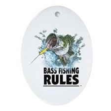 BASS FISHING RULES...STRIKE! Oval Ornament