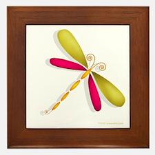 Colorful Dragonfly Framed Tile