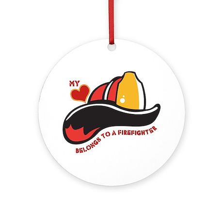 Heart Belongs Firefighter Ornament (Round)