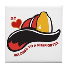 Heart Belongs Firefighter Tile Coaster