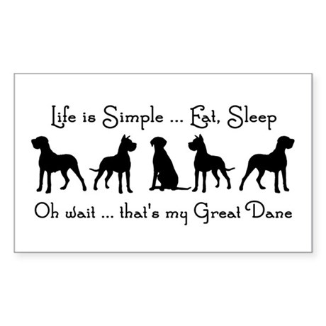 Life is Simple For Great Dane Dog Pet Humorous Sti