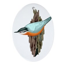 Nuthatch on Tree Trunk Oval Ornament