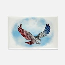 Silver Red White & Blue Eagle in  Rectangle Magnet