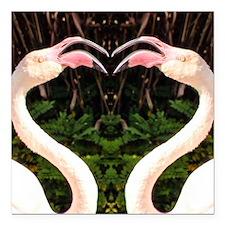 "Flamingo Heart Square Car Magnet 3"" x 3"""