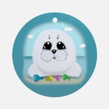 Baby Seal and fish (txt) Ornament (Round)