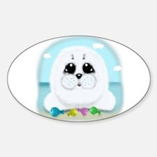 Baby Seal and fish (txt) Decal