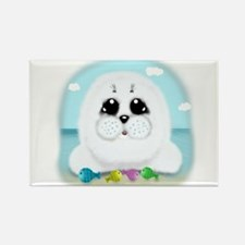 Baby Seal and fish (txt) Rectangle Magnet