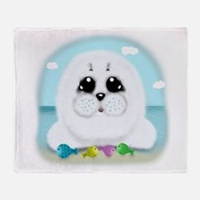 Baby Seal and fish (txt) Throw Blanket