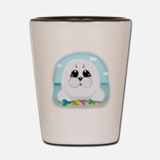 Baby Seal and fish (txt) Shot Glass