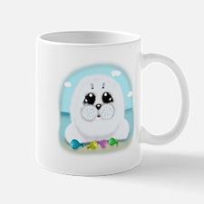 Baby Seal and fish (txt) Mug