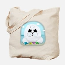 Baby Seal and fish (txt) Tote Bag