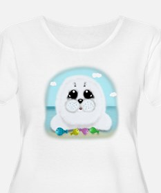 Baby Seal and fish (txt) Plus Size T-Shirt