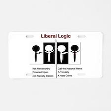 Liberal Logic Black vs White Aluminum License Plat