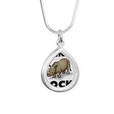 RHINOS10596 Silver Teardrop Necklace