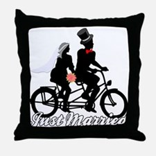 Just Married Cyclists Throw Pillow