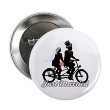 """Just Married Cyclists 2.25"""" Button"""