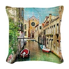 Vintage Grunge Venice Photo Woven Throw Pillow