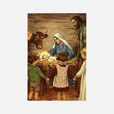 Vintage Christmas Nativity Rectangle Magnet