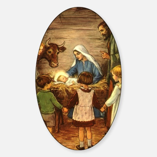 Vintage Christmas Nativity Sticker (Oval)