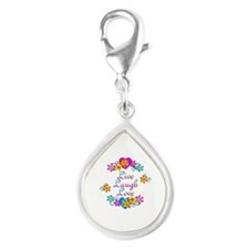 Live Laugh Love Flowers Silver Teardrop Charm
