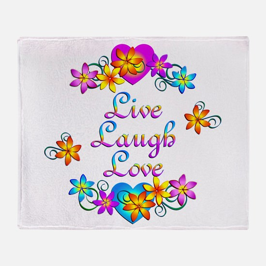 Live Laugh Love Flowers Throw Blanket