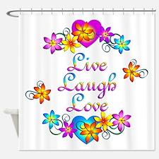 Live Laugh Love Flowers Shower Curtain