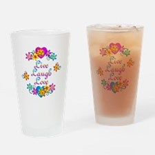 Live Laugh Love Flowers Drinking Glass