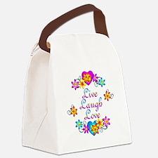 Live Laugh Love Flowers Canvas Lunch Bag