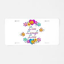 Live Laugh Love Flowers Aluminum License Plate