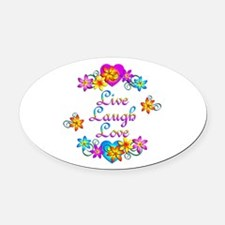 Live Laugh Love Flowers Oval Car Magnet