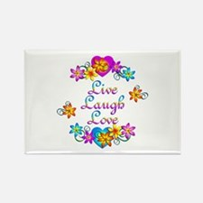 Live Laugh Love Flowers Rectangle Magnet
