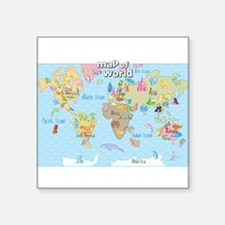 World Map For Kids - Hand Drawn Design Sticker